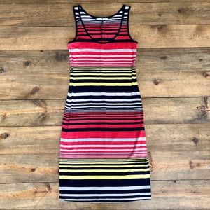 Three Dots Colorful Striped Tank Dress XS